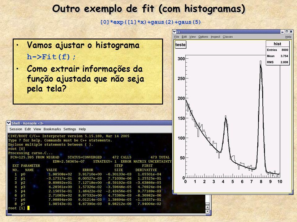 Outro exemplo de fit (com histogramas) [0]*exp([1]*x)+gaus(2)+gaus(5)